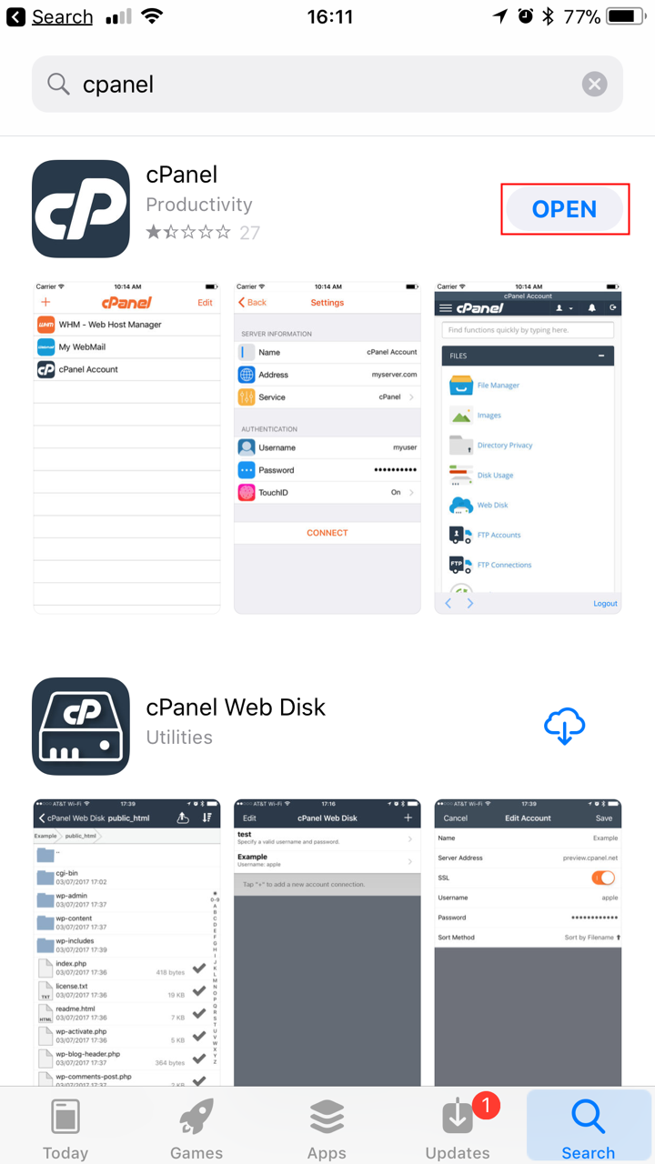 cPanel App Open button highlighted