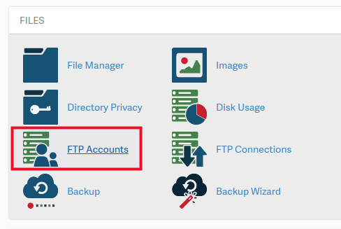 accessing the FTP accounts in cPanel