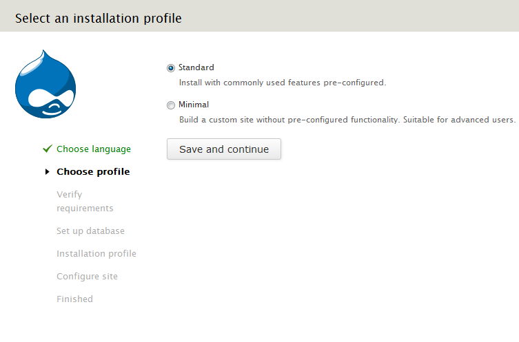 Select standard or minimal profile