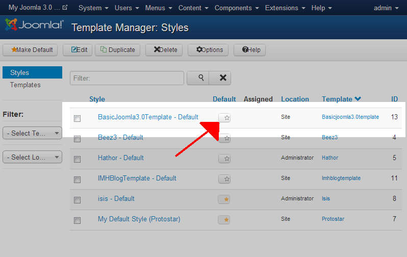 click star to change Joomla template