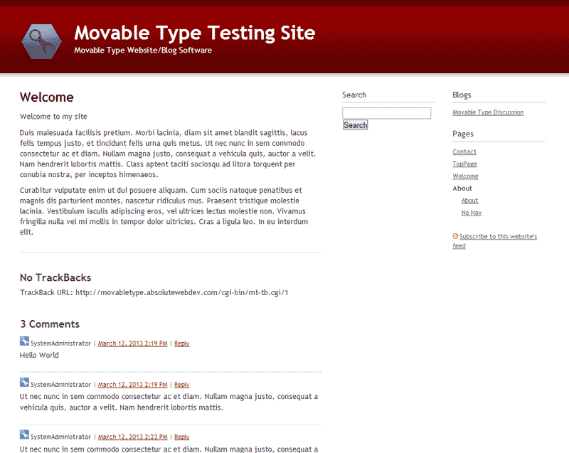 Movable Type Home page