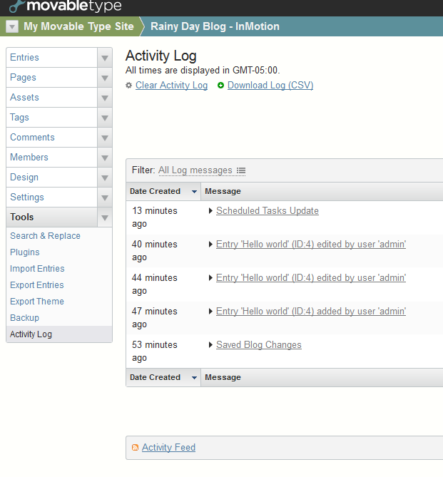 Using the Activity log in Movable Type | InMotion Hosting