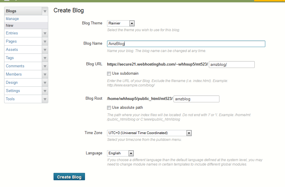 Create Blog Menu