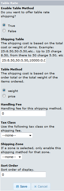 Display of options available for Table rate