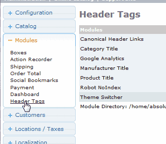 Go to header tags osCommerce 2.3.3