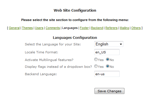 Preferences menu listing - also called Website configuration