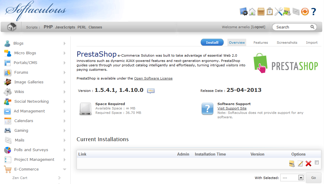 PrestaShop Install screen in Softaculous