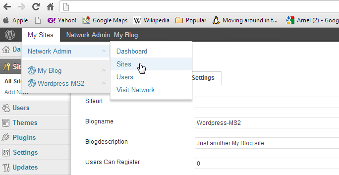 Go to the Sites section in the Network Admin