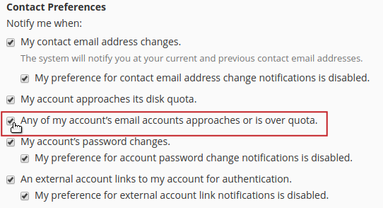 Contact preferences Any of my account's email account approaches or is over quota option highlighted