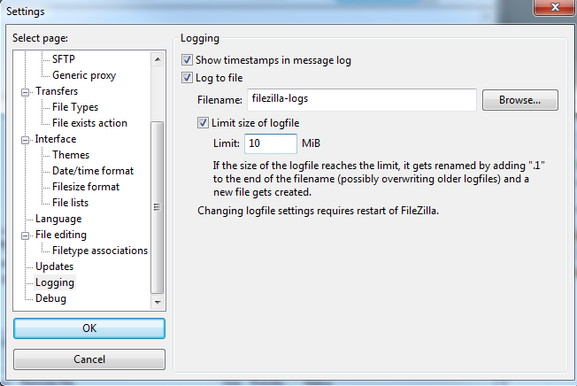 Accessing the logging settings for FileZilla FTP
