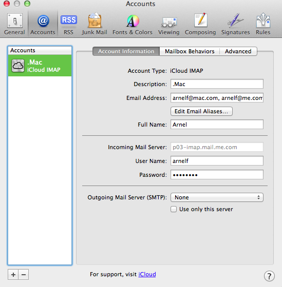 Mac mail illustrating mail account