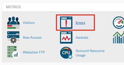 Icon to view cPanel errors