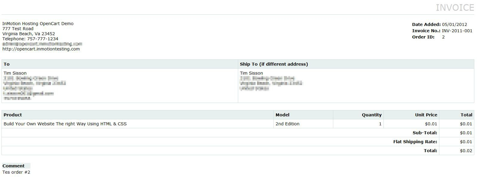 Printing Order Invoices in OpenCart InMotion Hosting
