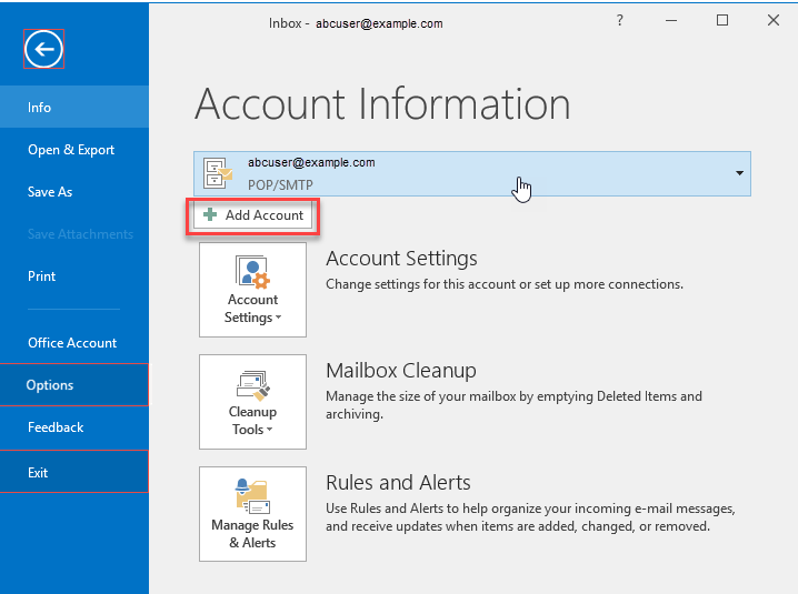 Select File Tab to see Account screen