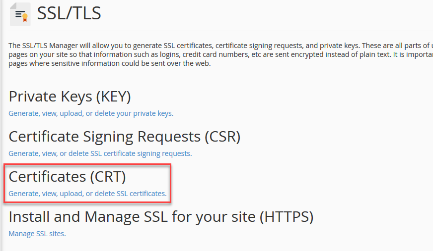 Click on Certificates (CRT)