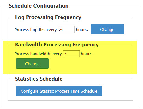 Set the bandwidth processing frequency