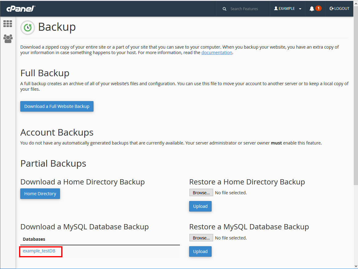 cpanel backups click on database name to download