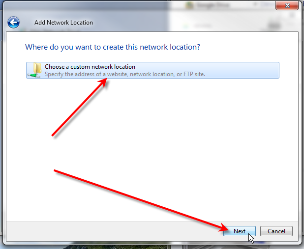click choose a custom network location click next