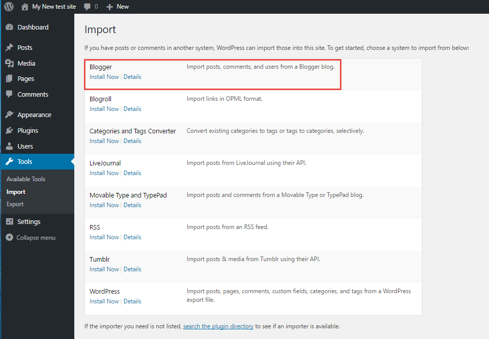 Select blogger from import list WordPress
