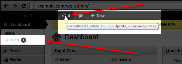 wordpress admin click on update icon or updates in menu