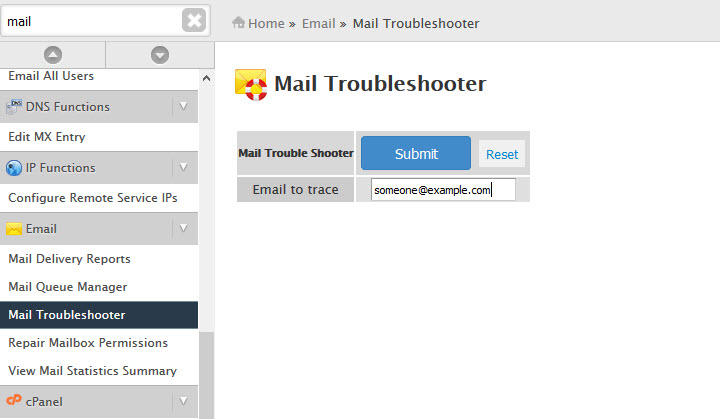 Mail troubleshooter