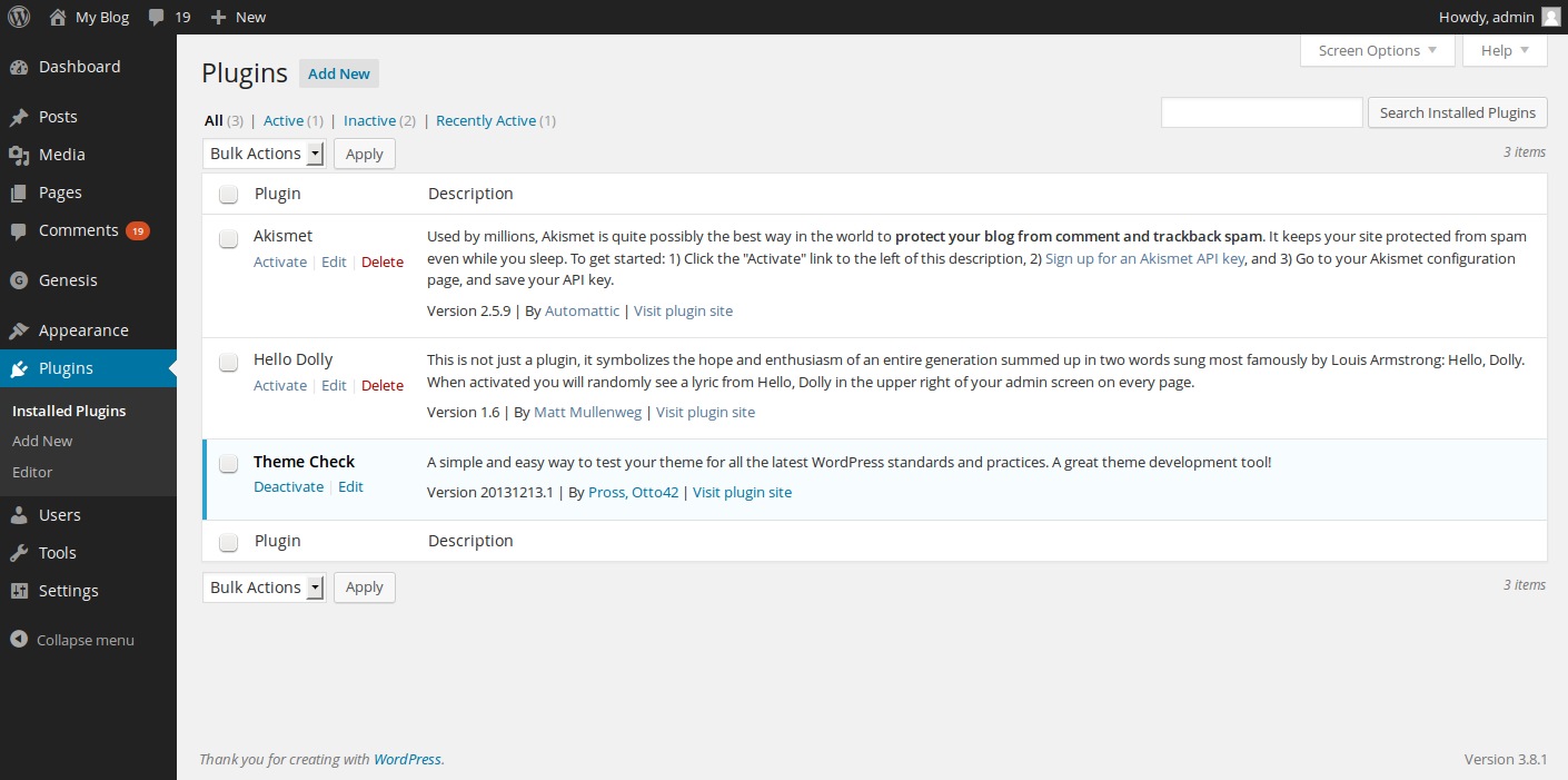 stopping WordPress comment spam plugins page