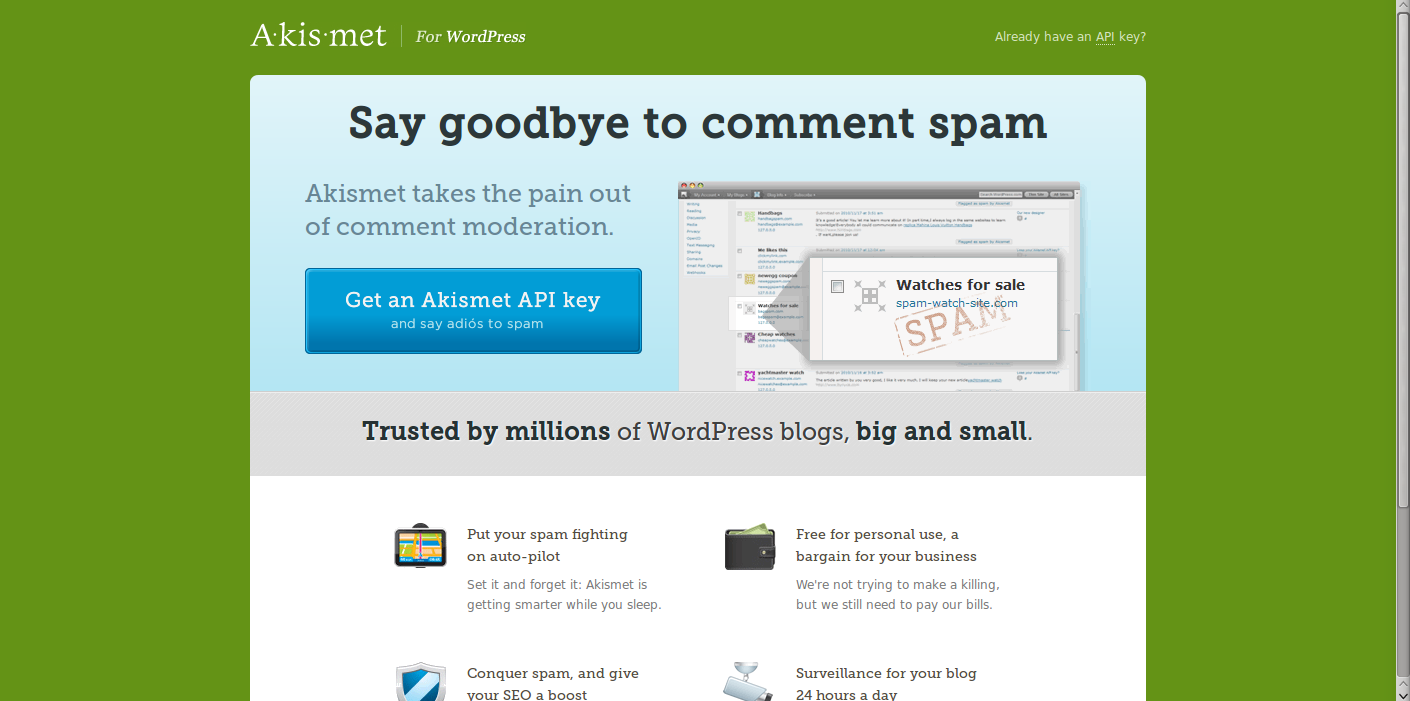 stopping WordPress comment spam Akismet website