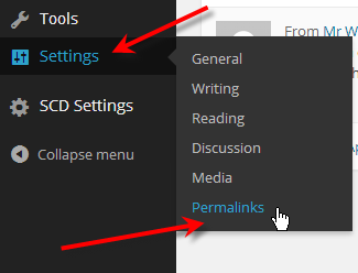 hover over settings click permalinks