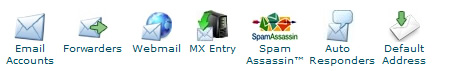cpanel top email features icons