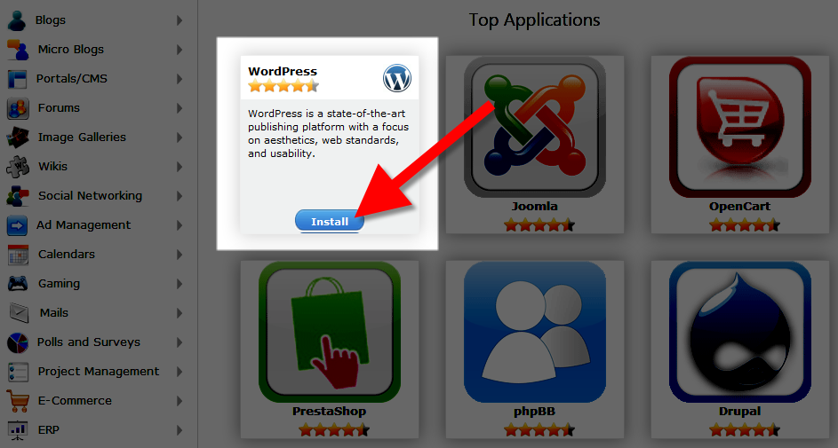 selecting wordpress in softaculous