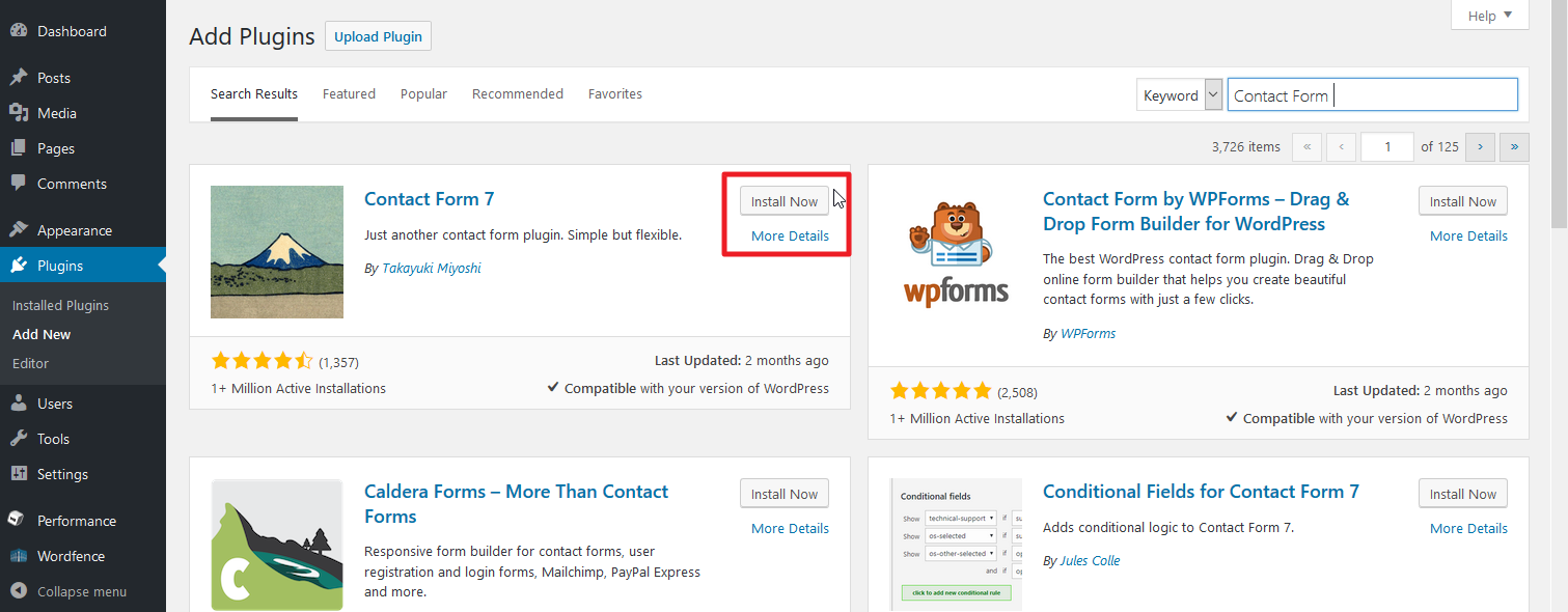 Section in plugins section highlighting Install and Details buttons for Contact form 7 plugin.