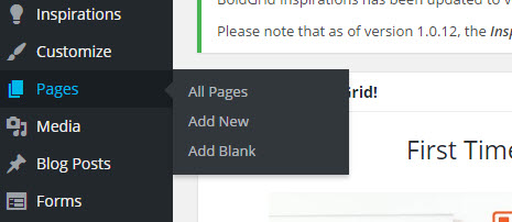Pages menu