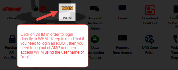 Login to WHM