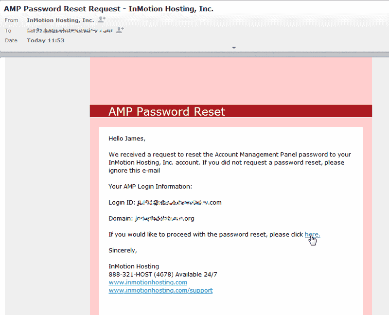 Click here to reset password Account Management Panel AMP