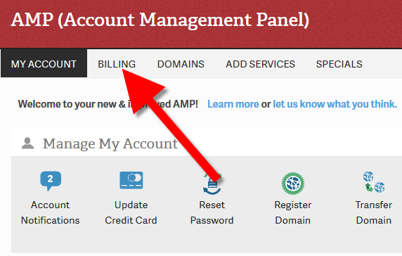 Clicking Billing in AMP