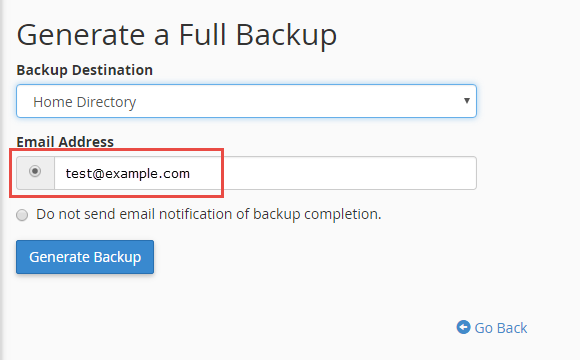 Enter the email address for notification of the backup completion
