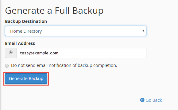 Click on the generate backup button