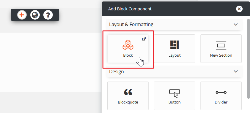 Click Add Block Component
