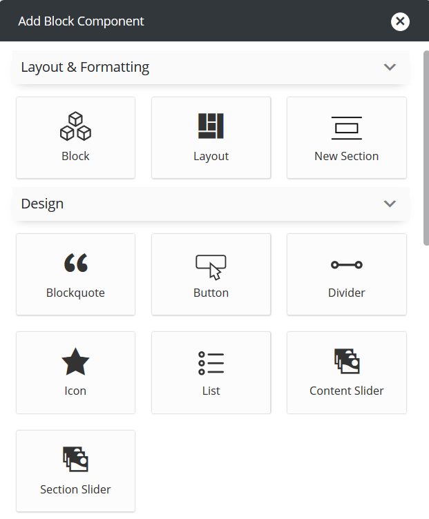 Add content or section slider