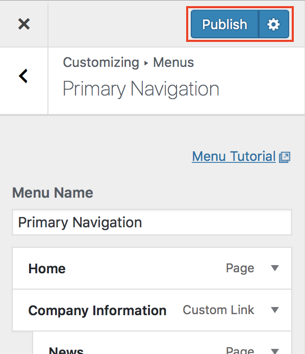 Customizer Menus Publish button highlighted.