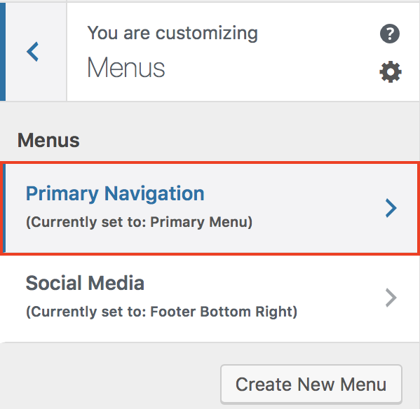 Customizer Menus Primary Navigation selection.