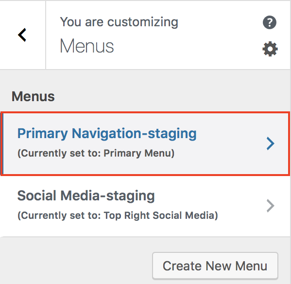 Customizer Menus Primary Navigation-staging selection highlighted.