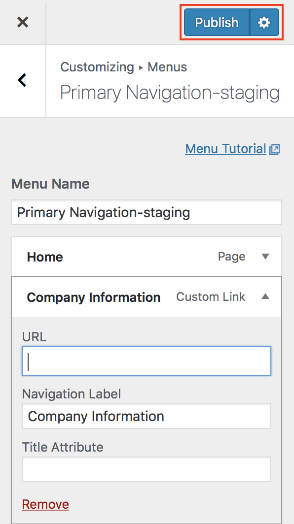 Customizer Menus Primary Navigation-staging Publish button highlighted.