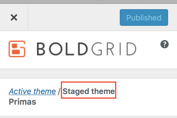 Customizer Staged Theme selection highlighted.