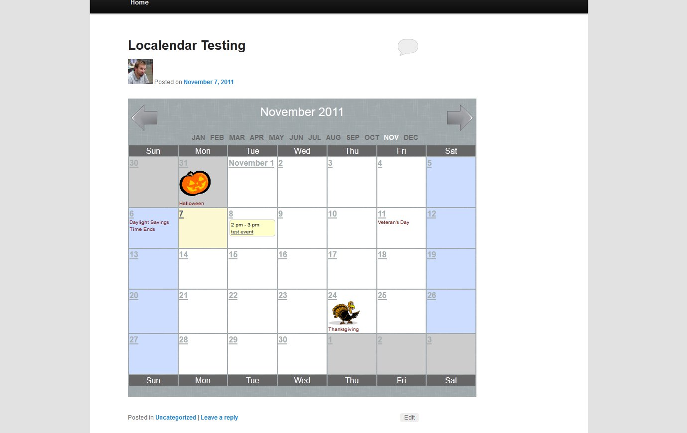 what localendar looks like