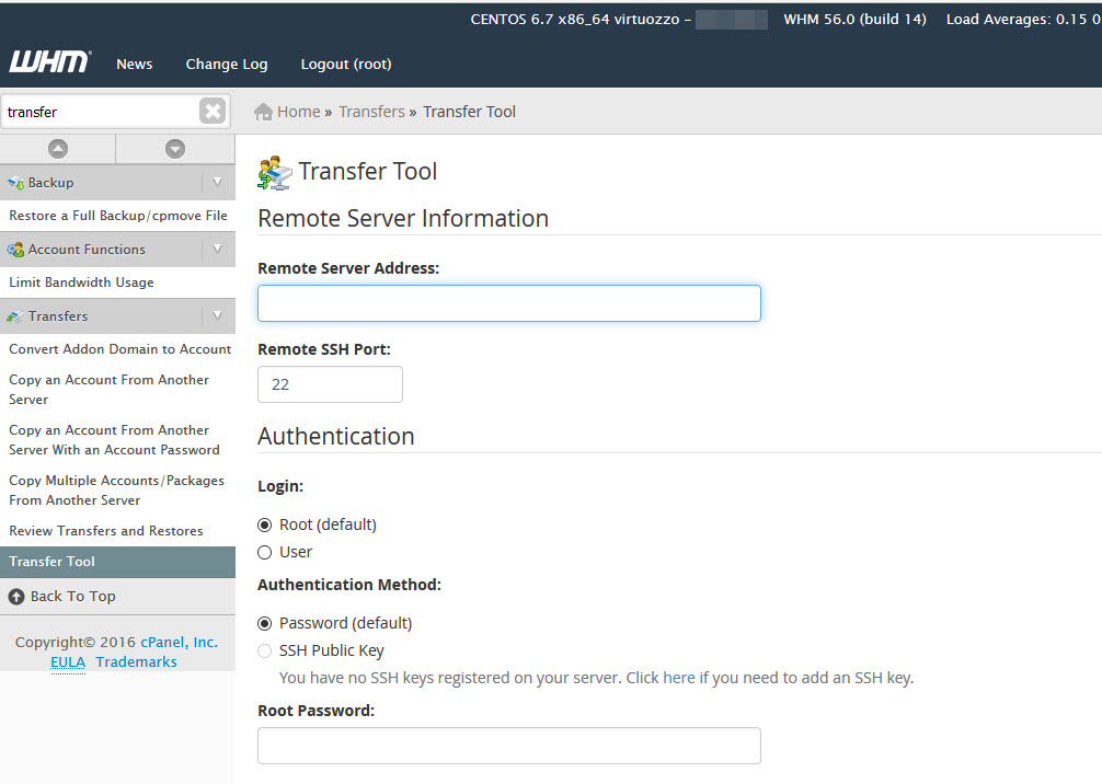 cPanel Transfer Tool