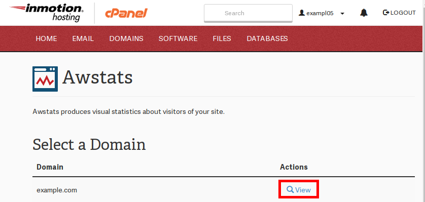 Viewing awstats in cpanel