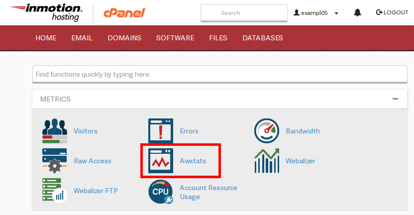 opening awstats from cpanel