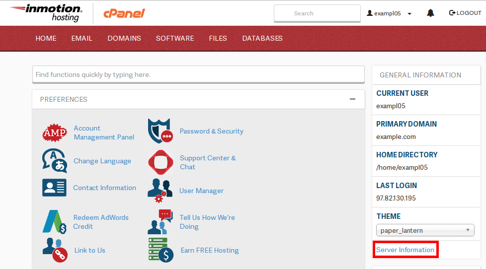 Left menu pane stats for the cpanel account