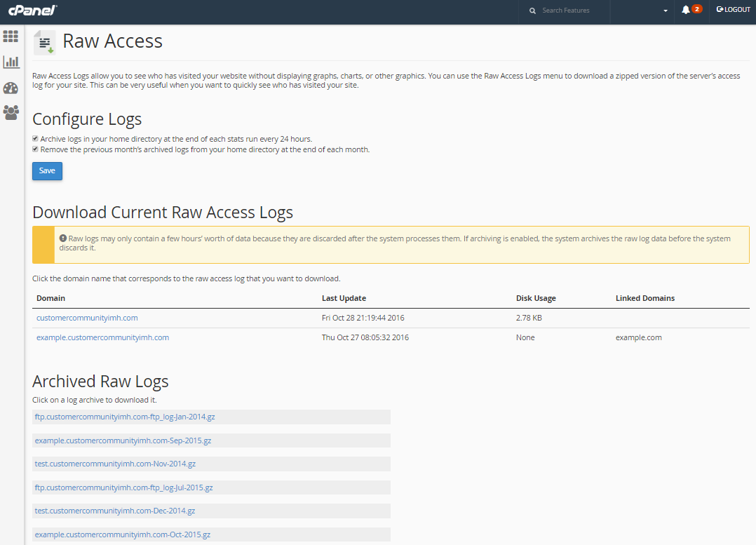 cpanel select raw access log domain